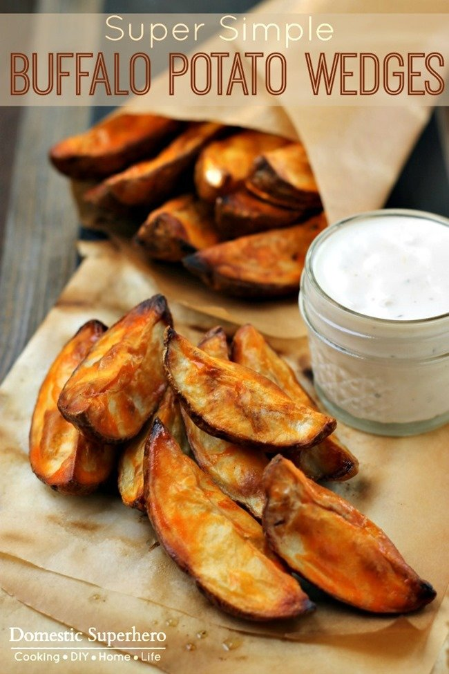 These Buffalo Potato Wedges are homemade and delicious. Simple to bake and serve on gameday as an appetizer or as a side dish!
