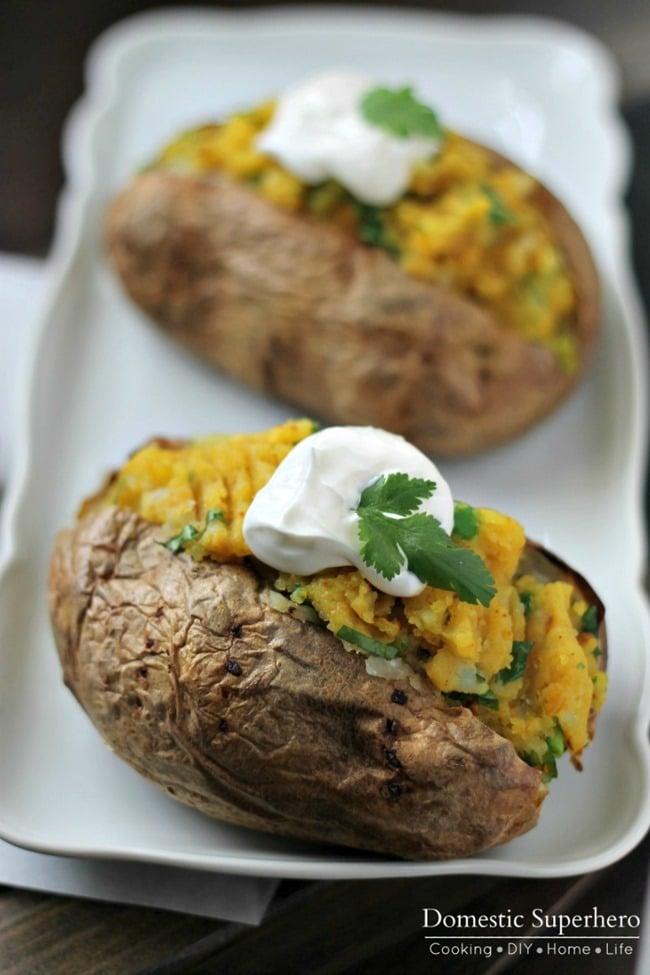 Samosa Stuffed Baked Potatoes