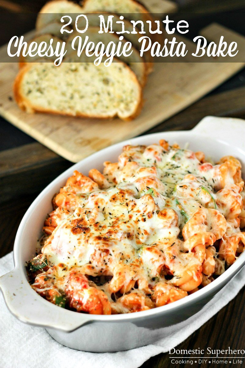 This hearty Cheesy Vegetable Pasta Bake is full of delicious fresh vegetables, loaded with cheese, and best of all only takes ONE pot to make! Your family will beg for this meal!