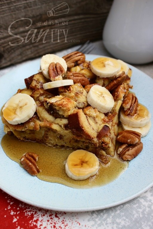 Bananas Foster Baked French Toast by A Dash of Sanity