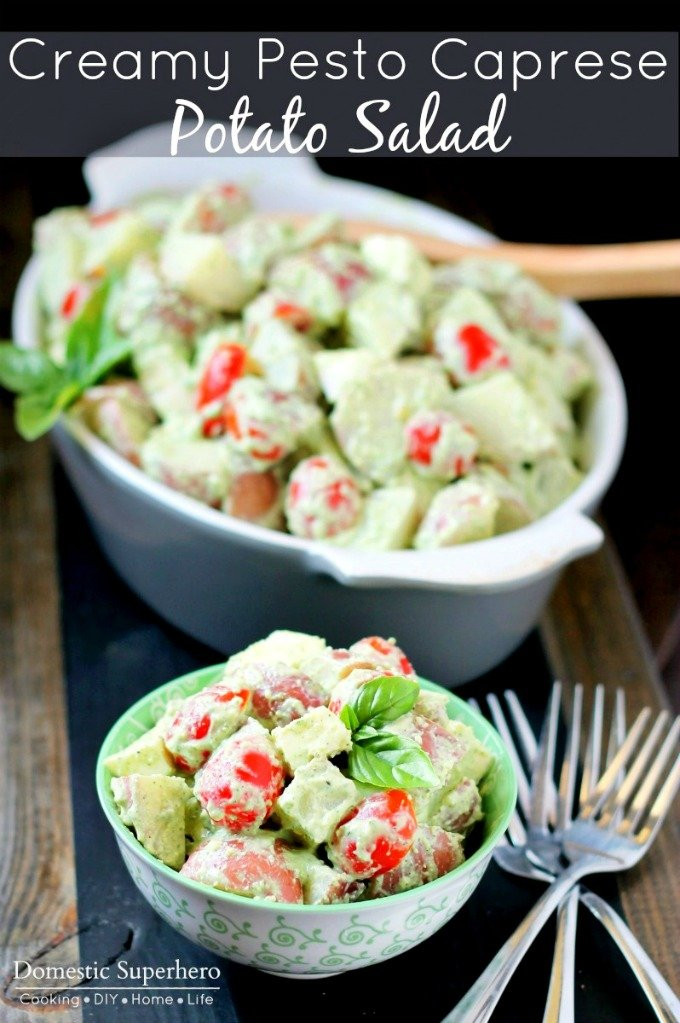 Creamy Pesto Caprese Potato Salad is a delicious spring and summer salad that is lightened up with Greek Yogurt!