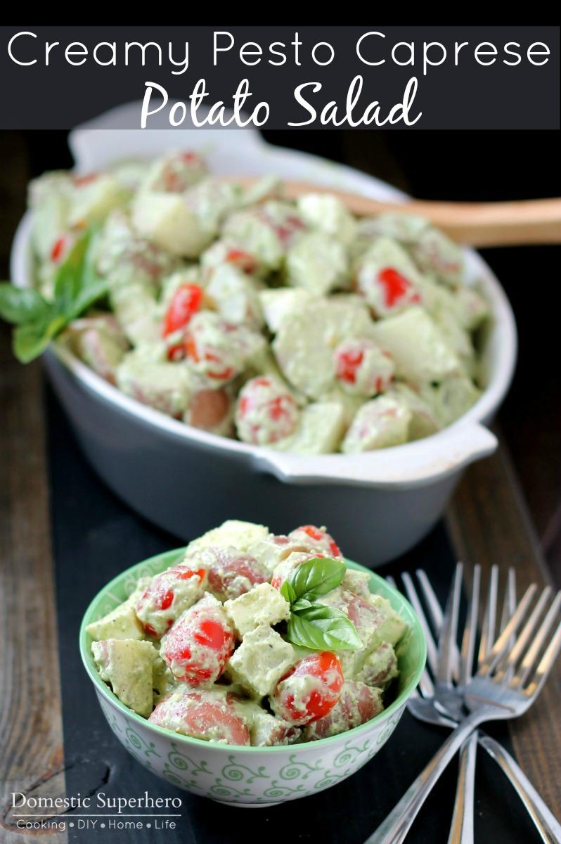 Creamy Pesto Caprese Potato Salad with Greek Yogurt