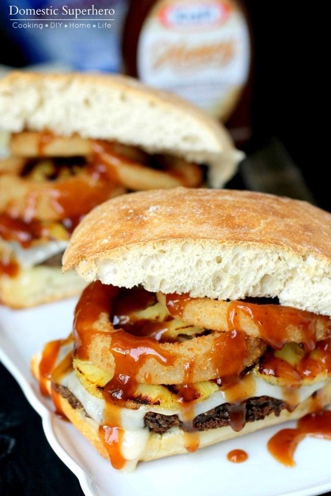 Spicy Black Bean Hawaiian BBQ Burgers