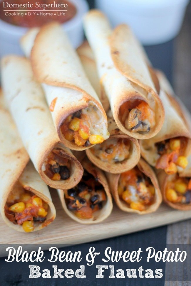 Black Bean and Sweet Potato Baked Flautas