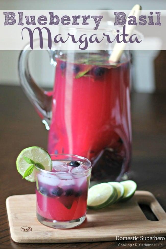 Blueberry Basil Margaritas from Domestic Superhero on { lilluna.com }