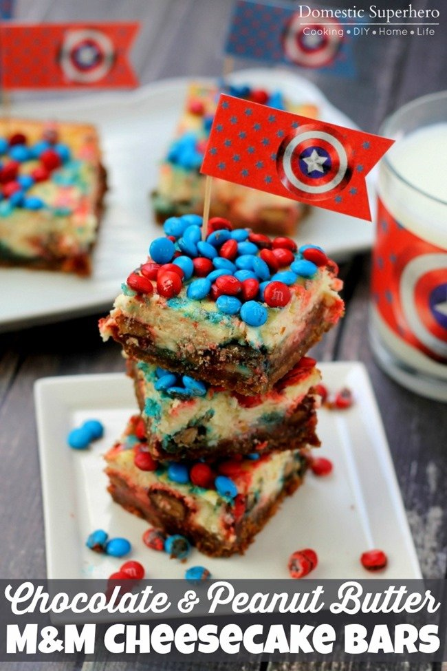 Chocolate and PB M&M Cheesecake Bars