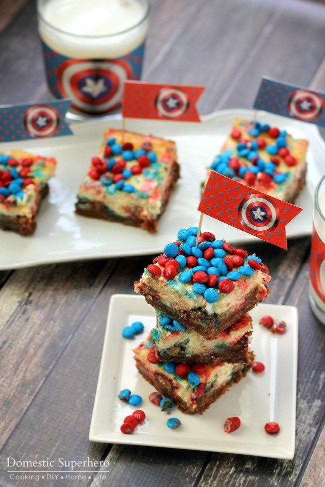 Chocolate and Peanut Butter M&M Cheesecake Bars (5)