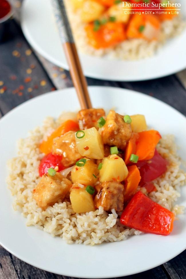 Panda Express Copycat Firecracker Tofu with Brown Rice