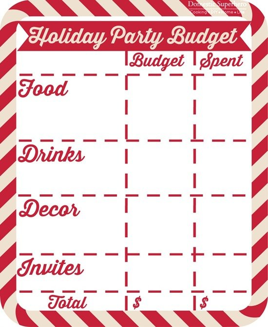 Holiday Party Budget Printable FREE!