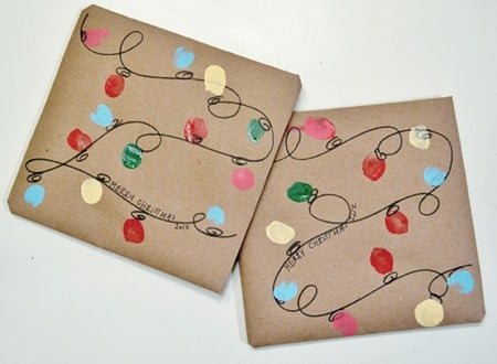 16 - Burlap and Blue - Holiday Lights Gift Wrap