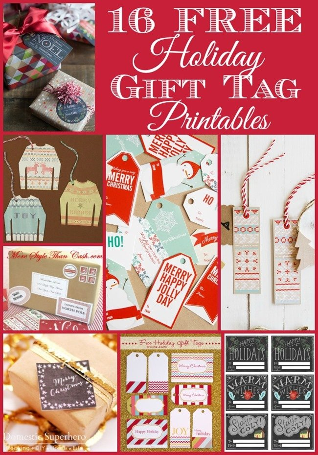 16 Free Holiday Gift Tag Printables