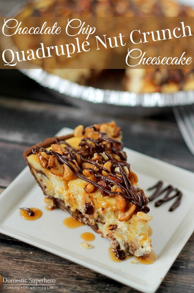 Chocolate Chip Quadruple Nut Crunch Cheesecake in a delicious chocolate graham cracker crust and topped with caramel and chocolate drizzle! Wow!