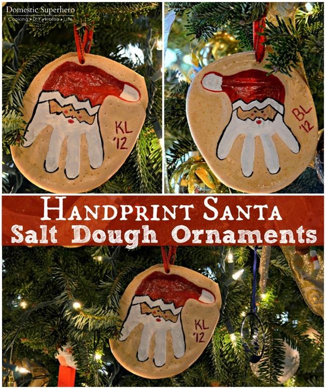 Handprint Santa Salt Dough Ornaments