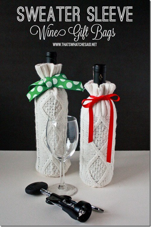 Wine Gift Bags Made From Sweaters