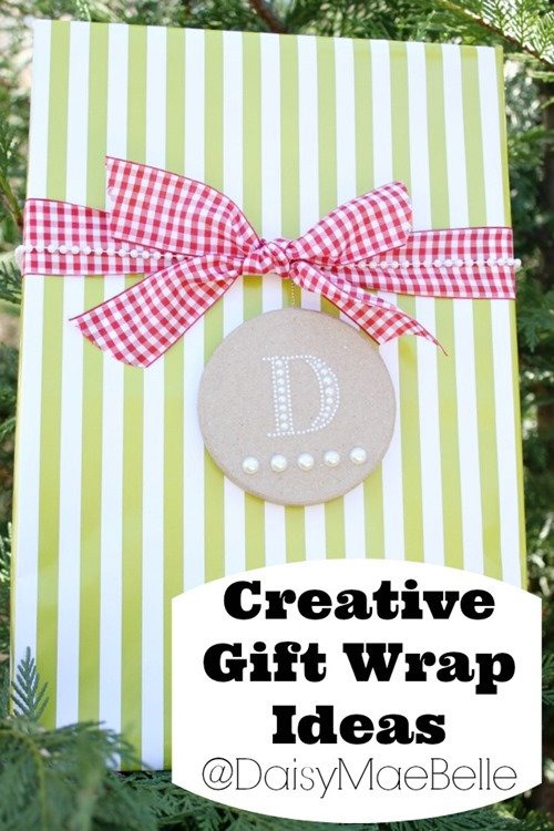 Pretty Gift Wrap with Monogrammed Tag