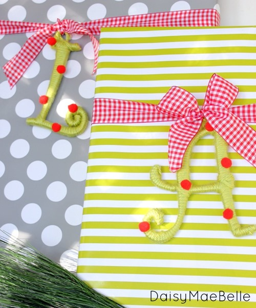 Pretty Gift Wrap with Monogram Tags