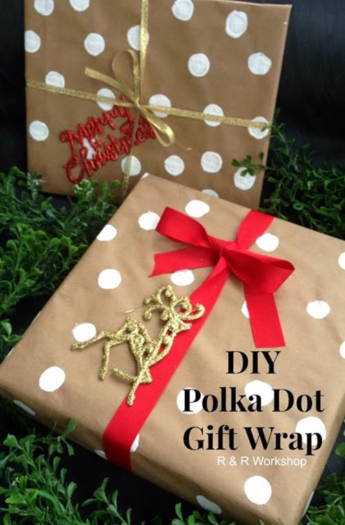 DIY Polka Dot Gift Wrap