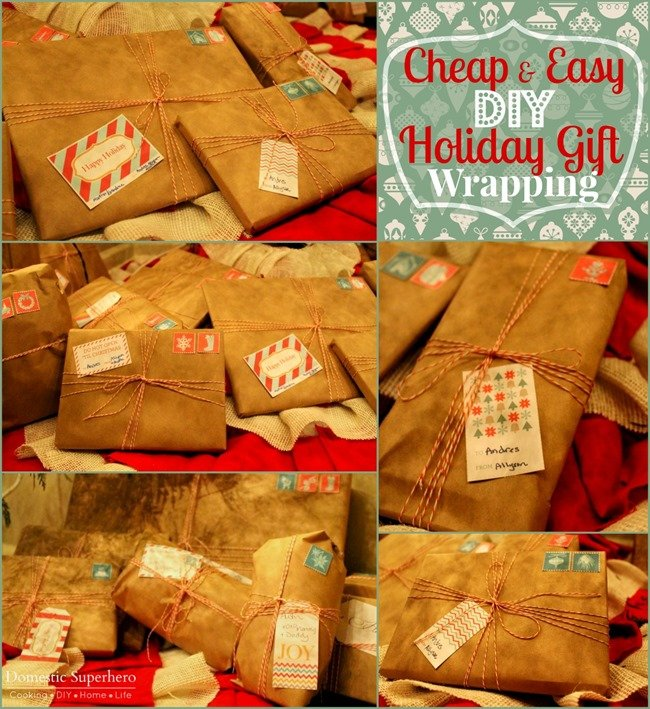 Cheap and Easy DIY Holiday Gift Wrapping with Kraft Paper, free printables, and bakers twine!
