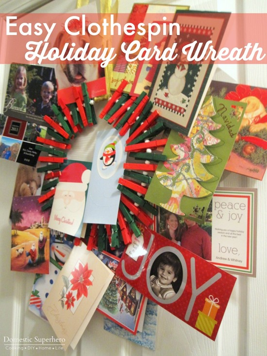 Easy Clothespin Holiday Card Wreath