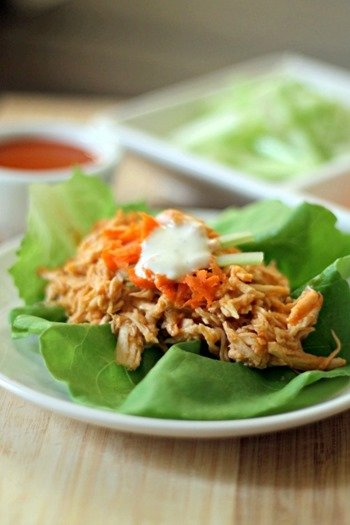 Slow Cooker Buffalo Chicken Lettuce Wraps 4