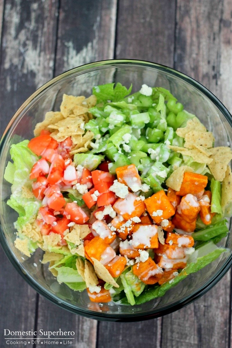 Crispy fried tofu doused in creamy ranch and spicy buffalo sauce then served over a delicious salad, makes the best Buffalo Tofu Salad! It's the perfect lunch or dinner!