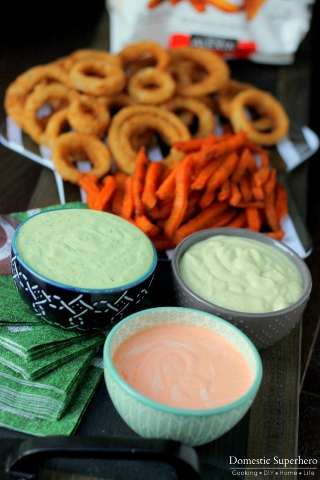 Dip Trio Sriracha & Basil Aiolis and Avocado Ranch Dips 2