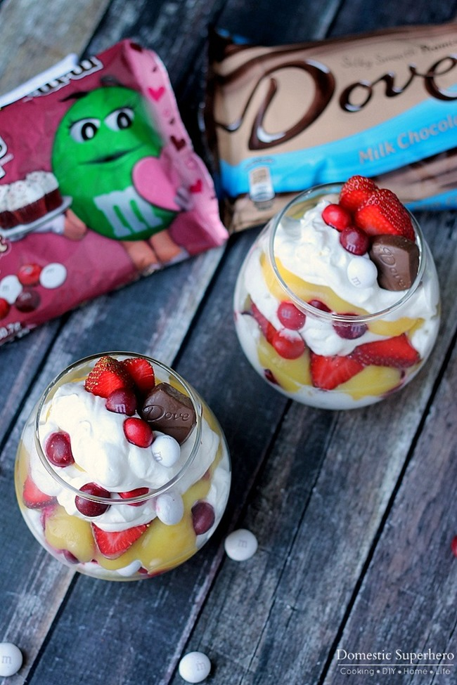 Red Velvet Strawberry Vanilla Parfaits - creamy homemade whipped cream and vanilla pudding paired with sliced fresh strawberries and Red Velvet M&M's!