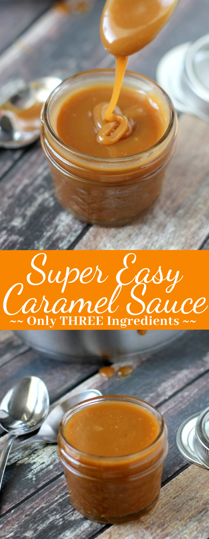 Perfect for desserts, this Super Easy Caramel Sauce has only 3 ingredients and takes only a few minutes to make! This caramel sauce is the BEST!