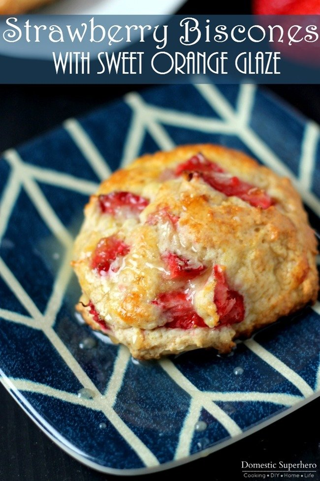 Strawberry Biscones with Sweet Orange Glaze are a hybrid between biscuits and scones - the perfect melt in your mouth Saturday morning treat!