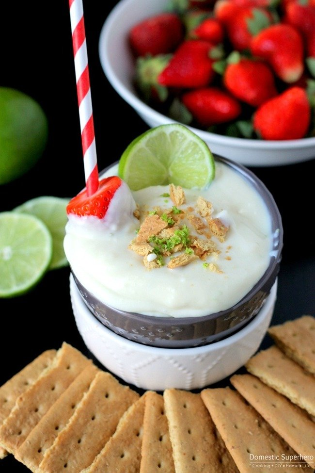 Key Lime Pie Dip - cool creamy tangy key lime pie dip has all the flavor but none of the difficult pie prep! Take this to a party and all your guests will be begging for the recipe!