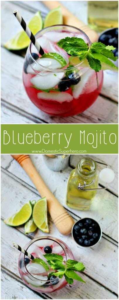 Blueberry Mojito - the perfect and easiest spring and summer cocktail!