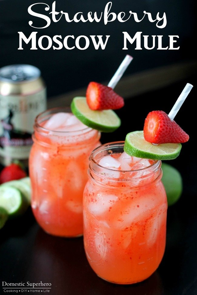 Strawberry Moscow Mules- a spin on traditional Moscow Mules: Ginger Beer, Lime, Vodka, & Strawberries make the perfect combination for this warm weather drink!