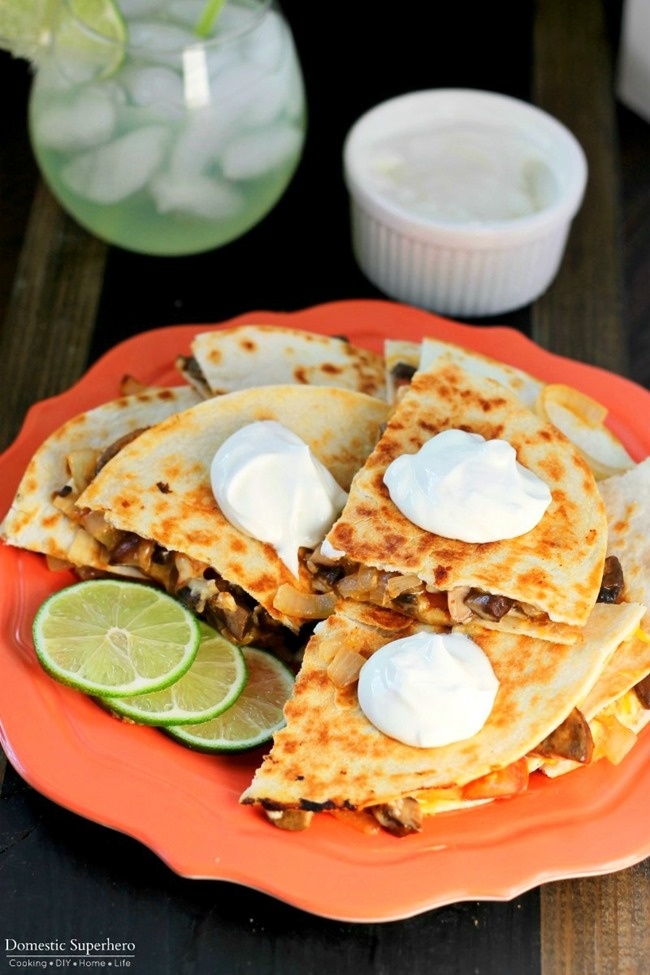 Veggie Fajita Quesadillas are full of fresh delicious vegetables and grilled up for an easy cheesy meal!