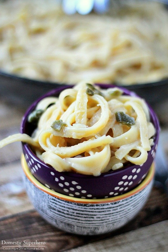 One Skillet Spicy Pasta (Jalapeno Parmesan) is the perfect one skillet dinner; no mess, super delicious, and easy to make!