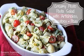 Creamy Pesto Pasta Salad with Artichokes, Tomatoes, and Peas