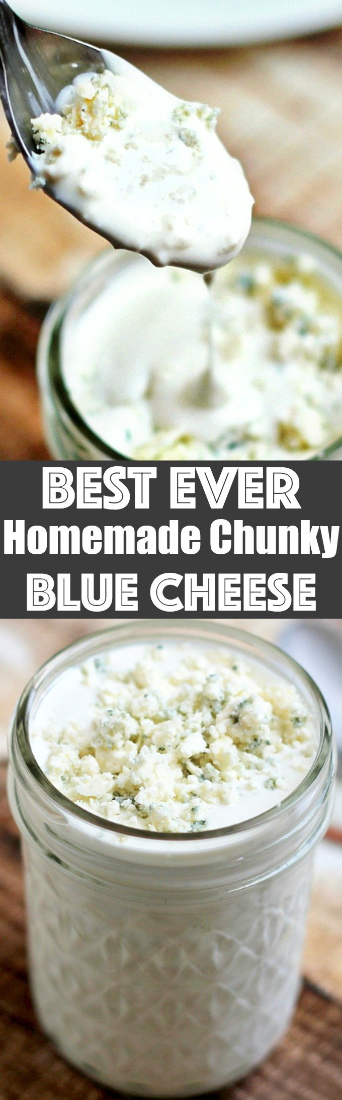 This Best Ever Homemade Chunky Blue Cheese Dressing is cool, creamy, tangy, and full of chunky blue cheese crumbles. It's incredibly easy and delicious!