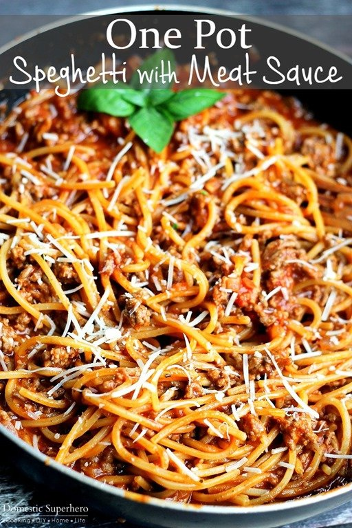 Back to school dinner recipes - one pot spaghetti with meat sauce