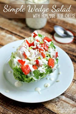 Simple Wedge Salad with Homemade Blue Cheese
