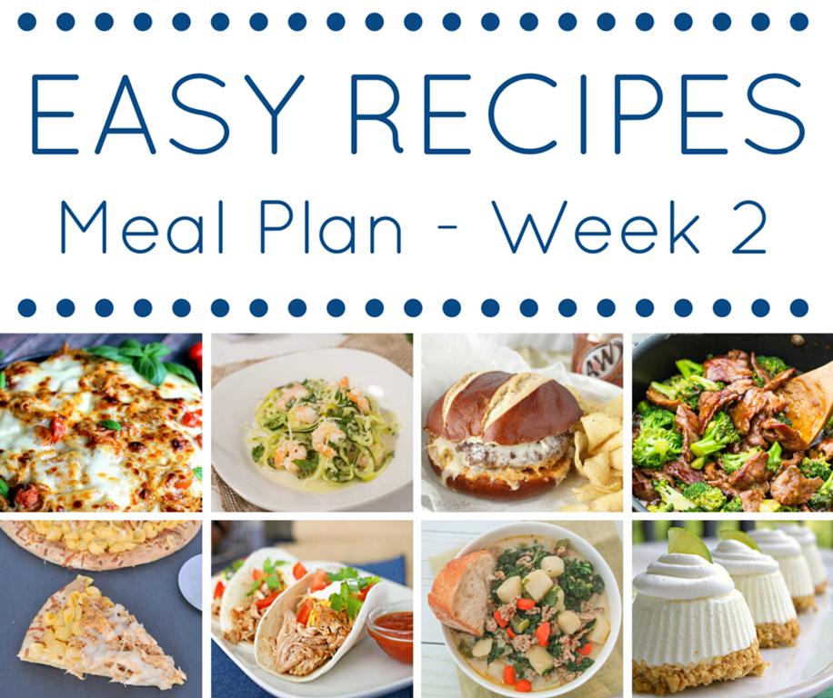 Easy Recipes Meal Plan - Week 2