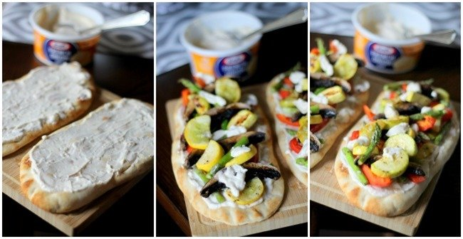 Grilled Veggie French Onion Flatbreads - delicious naan topped with french onion dip and fresh grilled vegetables - perfect summer meal!
