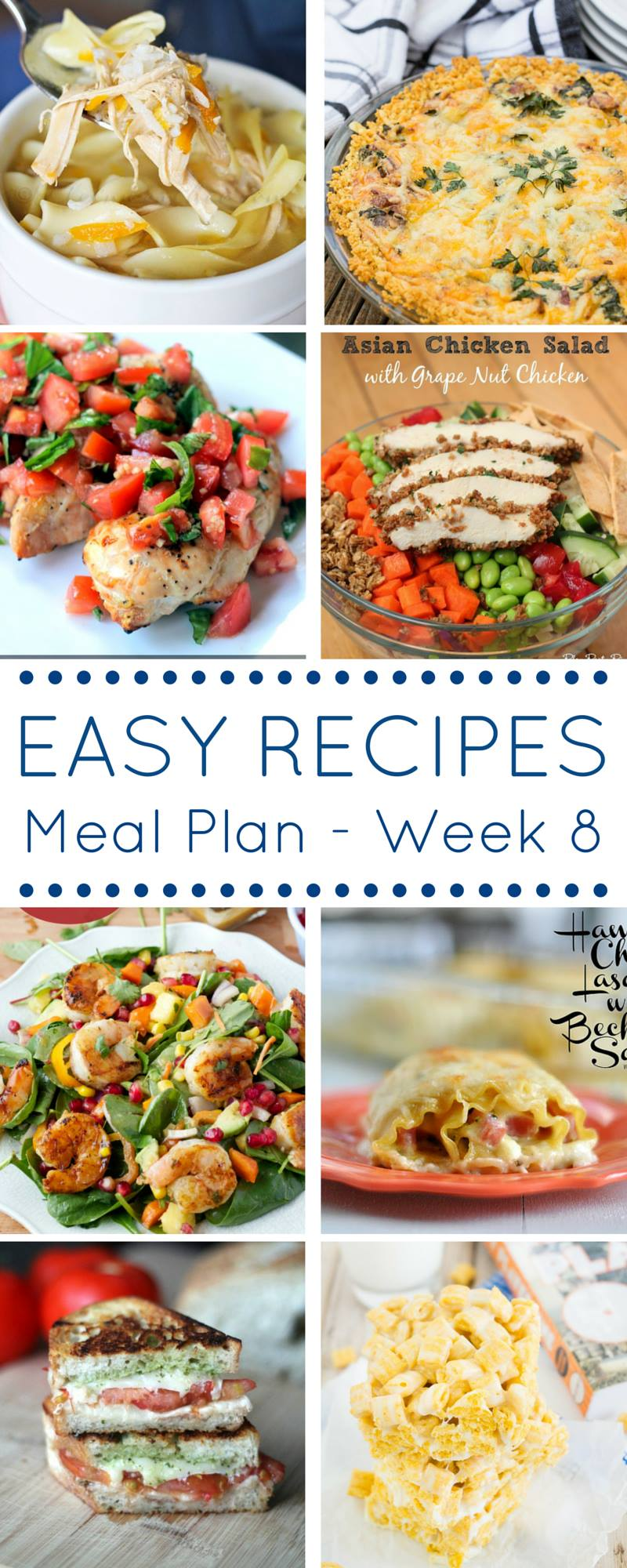 Easy recipes Meal Plan provides SEVEN delicious dinners as well as one amazing dessert! Come check out these recipes for major meal planning inspiration!