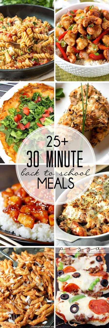 30 Minute Back-to-School Meals collage for Pinterest