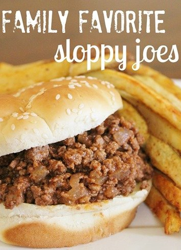 Sloppy Joes sandwich with fries