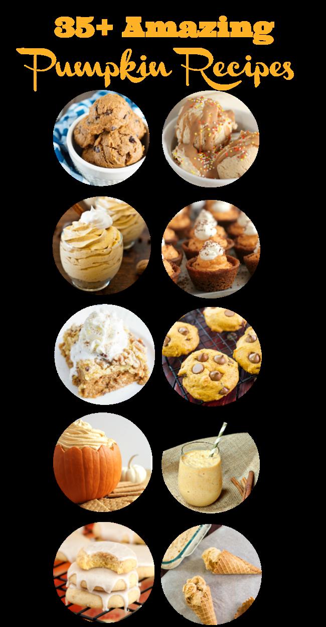 35+ Amazing Pumpkin Recipes - everything from ice cream to pasta sauce - yum!