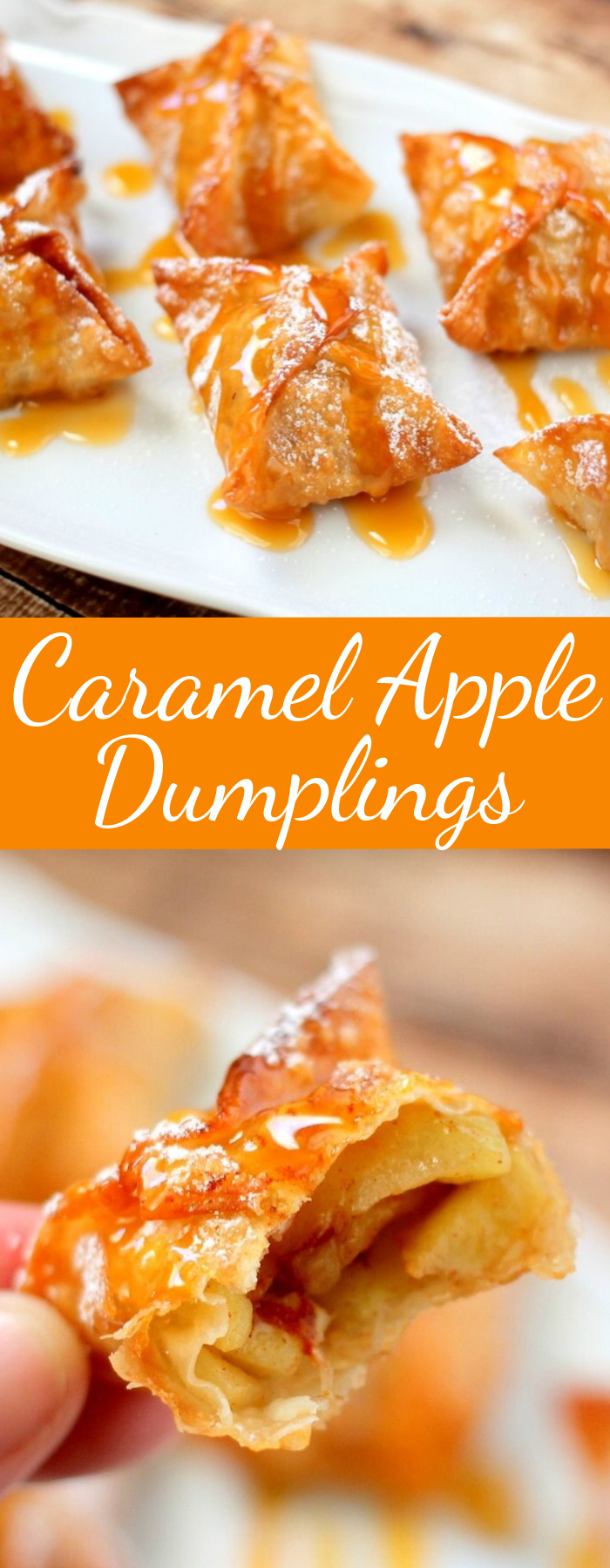 With a crispy shell on the outside and warm sweet caramel apples on the inside, these Caramel Apple Dumplings make the perfect fall dessert!
