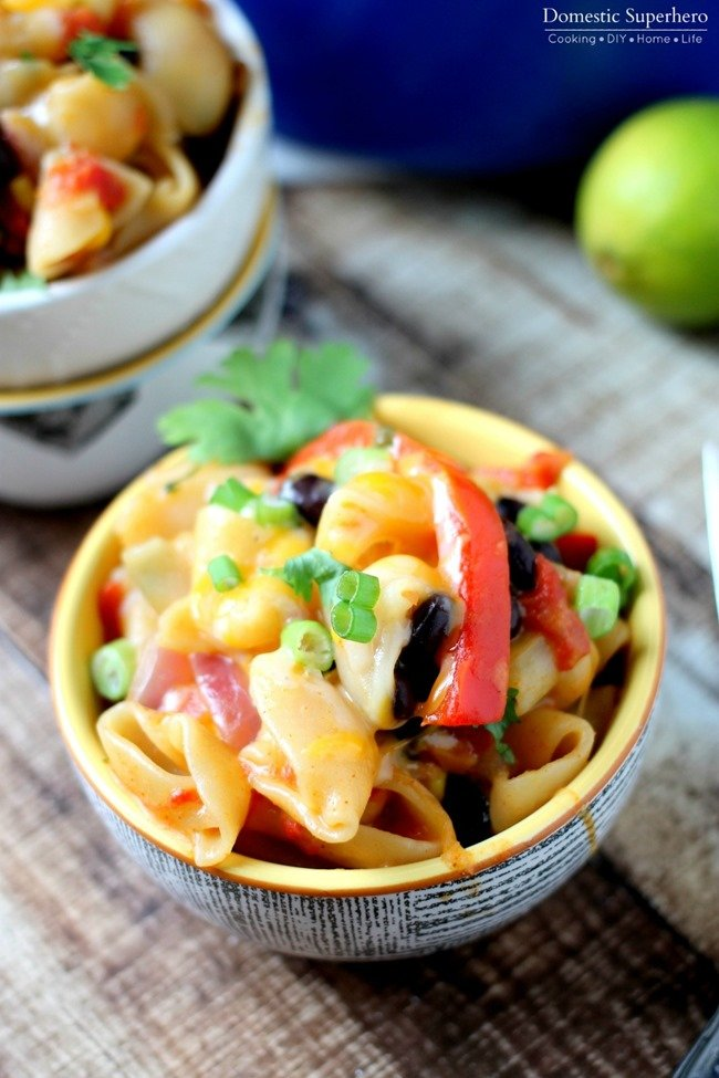 One Pot Cheesy Mexican Pasta combines your favorite Mexican flavors with pasta! Loaded with black beans, peppers, and cheese, this meal is sure to be a hit!