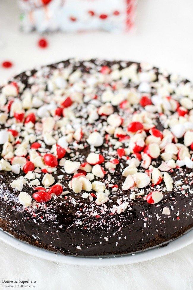 Chocolate Peppermint Cheesecake with Chocolate Ganache is the perfect holiday dessert!