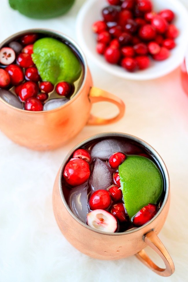 Cranberry Moscow Mules are the perfect festive cocktail! With only four ingredients, these are easy, delicious, and make everyone at your party happy!