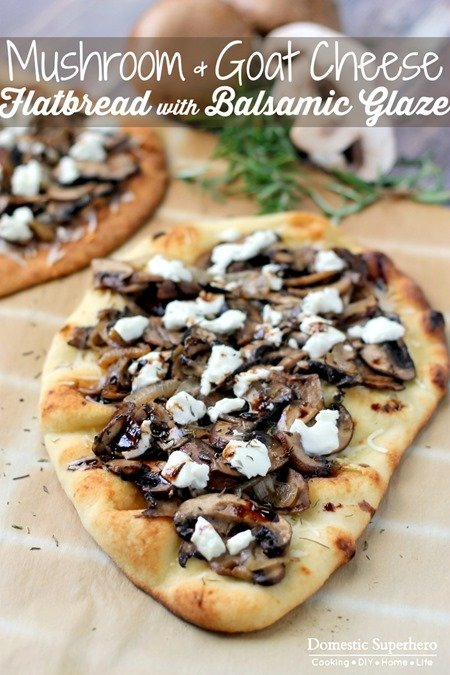 Mushroom and Goat Cheese Flatbread with Balsamic Glaze