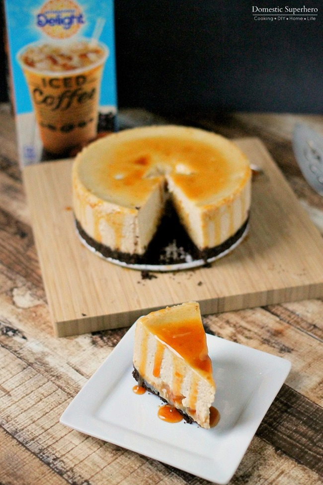 Slow Cooker Caramel Macchiato Cheesecake - The creamiest, most delicious cheesecake you will EVER try!